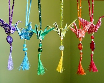 Custom Set of 12 origami rainbow Peace crane ornaments -- with vintage glass beads and tassels - CHARITY DONATION
