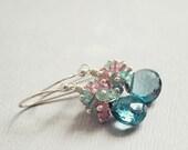 Anemone Earrings - London BLUE TOPAZ, aqua apatite and pink topaz clustered drop earrings