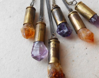 amethyst OR citrine bullet pendant layering necklace - found object crystal unisex handmade jewelry - amethyst