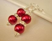 Bridesmaid Earrings Cranberry Pearl Earrings Silver Dangle Earrings Bridesmaid Jewelry Garnet Pearl Earrings
