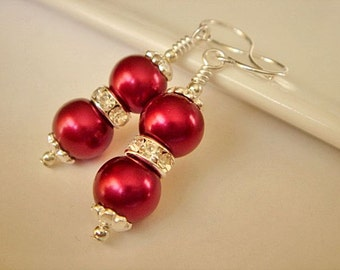 Bridesmaid Earrings Cranberry Pearl Earrings Silver Dangle Earrings Bridesmaid Jewelry Garnet Pearl Earrings