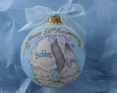 Beach Anniversary Keepsake Personalized Ornament, Handpainted and Personalized, WITH DISPLAY STAND