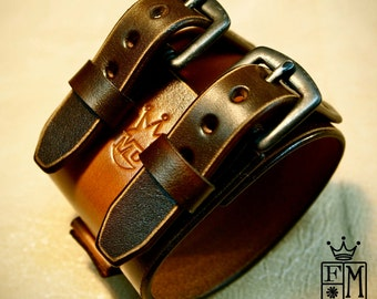 Leather Cuff watchband bracelet Depp style Distressed hand aged and made for You in New York City by Freddie Matara