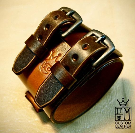 Leather Cuff watchband bracelet Depp style Distressed hand aged and made for You in New York   by Freddie Matara