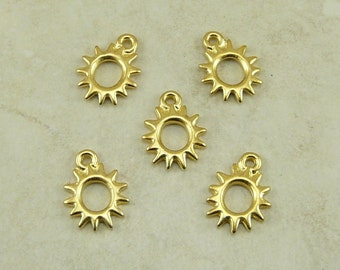 5 TierraCast Radiant Sun Charms > Solar Galaxy Stars - 22kt Gold plated Lead Free Pewter - I ship Internationally 2097