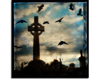 Birds Flying At Sunset, 8X8 Square, Blue Pearl Metallic Photograph, Blackbirds Art, Surreal Print, Dreamy Blue Sky - Celtic Spirit Light