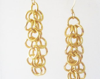 Medium Yellow Shaggy Loops Chainmaille Earrings