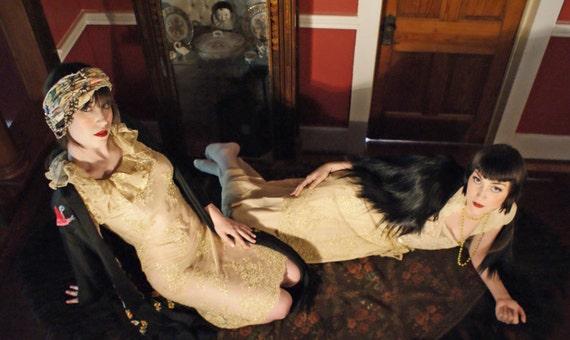 Boudoir Queen Couture  Net Tunic Dress with Metallic Over skirt