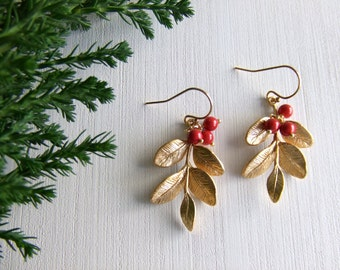 Red Berry Tree Jewelry Earrings - Holly Red Berry -16k Gold Plated Leaves / Gold Filled Earrings