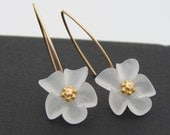 Spring Frost White Lucite Earrings Gold Filled or Sterling Silver