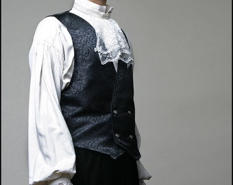 Black Brocade Waistcoat by Kambriel - Brand New & Ready to Ship! (see description for measurements)