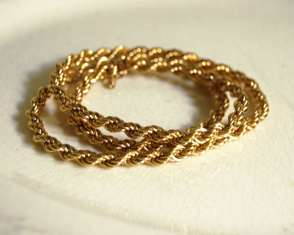 vintage monet necklace gold tone metal twisted by