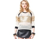 White Lace Top, White Lace Blouse, Gold Sequin Top, Sequins top, White Crewneck, Norwegian Wood, Long Sleeve Lace, Glitter Shirt, Gold Lace