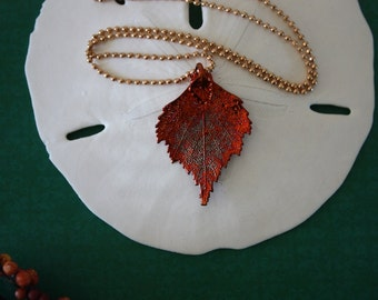 Birch Copper Leaf Necklace, Real Leaf Necklace, Birch Leaf, Copper Birch Leaf, 4LC