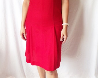 Vintage 1960s Sheath Dress - Cay Artley Red Pleated Size 8