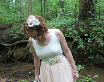 Greta in pale shades- Singed Flower bridal or formal headpiece, vintage look, beading and guinea feathers- clip or comb