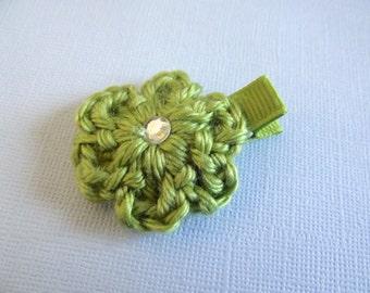 Pistachio Green Hair Clip Pistachio Hair Clip Crochet Flower Hair Clip Baby Girl Hair Clip Baby Hair Clip Spring Hair Clip Summer Hair Clip