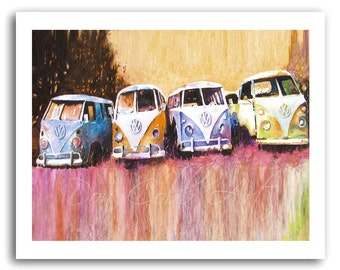 "Volkswagen Art Hippie Love VW Bus ""Purple Haze"" Prints Signed and Numbered"