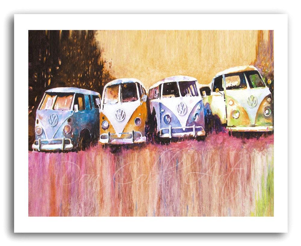 Volkswagen Art Hippie Love Vw Bus Purple Haze