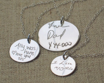 Personalized Necklace - Gift for Her - Custom Handwriting Necklace - ACTUAL Handwriting ...