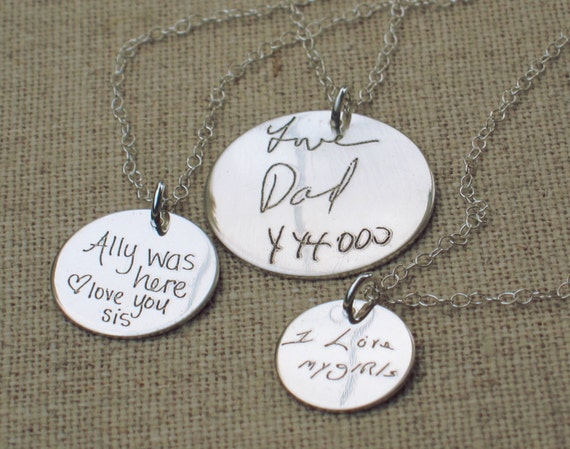 Personalized Jewelry  - ACTUAL Handwriting Jewelry -  Memorial Jewelry - Bridesmaid Gift
