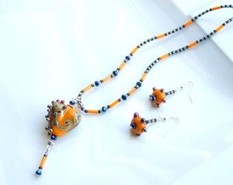 Orange & Blue Jewellery SET - ARTIST BEAD Orange Steampunk Heart Pendant Necklace and Earrings