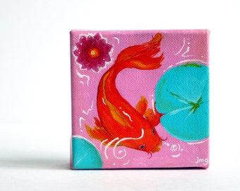 Coy Fish on Canvas- Acrylic Painting- Water Lilly- Pink and Orange and Turquoise