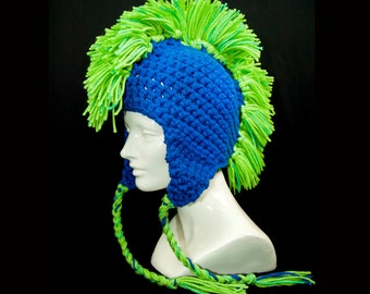 Blue with Bright Green Mohawk Ear Flap Hat