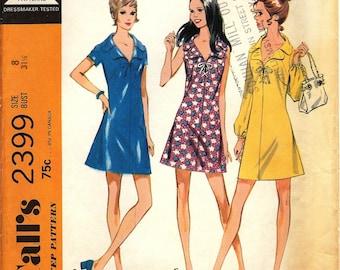 Vintage UNCUT 1970 McCall's Pattern 2399 Misses Dress in 3 Versions - size 8
