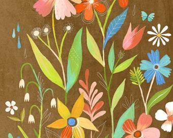 June Garden art print | Floral Wall Art |