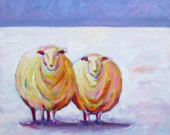 Winter Sheep - Sheep Art - Sheep Print - Paper - Canvas - Wood Block