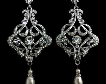 Chandelier Bridal Earrings, Statement Wedding Earrings, Art Deco Earrings, Victorian Wedding Jewelry, Pearl Drop Bridal Jewelry, CARMEN