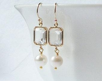 Clear Crystal Pearl Earrings