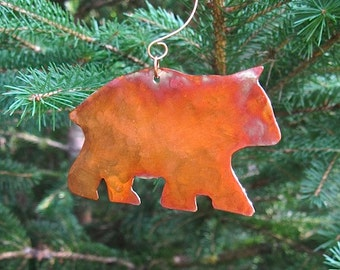 Copper Bear Christmas Ornament. Xmas Tree Decoration. Rustic Woodland Animal Decoration Wall Hanging Door Hanger Primitive Holiday Decor
