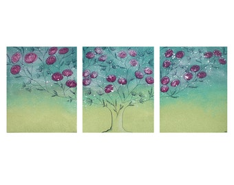 Teen Girl Bedroom Wall Art - Teal and Green Flowering Tree Painting Canvas Triptych - Large 50x20
