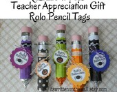 Halloween Candy Pencil and Tags Teacher Appreciation Classroom Gift