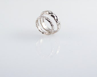 Lunar Wedding Band Set - Made from Recycled Silver Metal