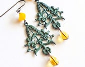 Patina Earrings Victorian Filigree Verdigris Earrings Green Metal Dangles Yellow Green Flora Jewelry Mint Green Earrings