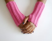 Fingerless Glove, Arm Warmer, Texting Gloves, Pink, MADE TO ORDER, Valentines for Her