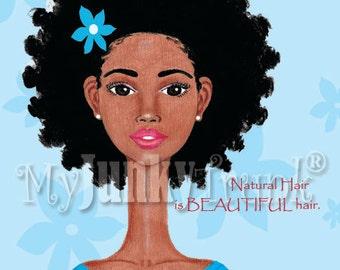 Beautiful- African American Art Natural Hair Art Black Woman Art Afro Print
