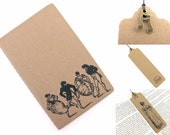 Couples Dancing Jane Austen - Small Hand Stamped Moleskine Notebook and Bookmark With Charm