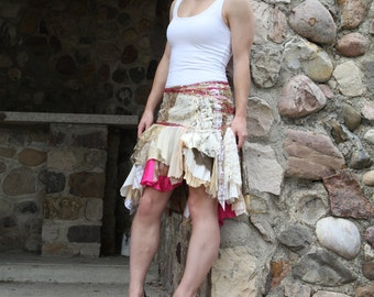 upcycled clothing . S - M . tattered skirt . chasing dawn