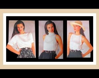 Vintage 1986-Designer Top Collection-Vogue Sewing Pattern-Three Classy Styles-RALPH LAUREN-Button Shoulder Closing-Bias Collar-Size 10 -Rare
