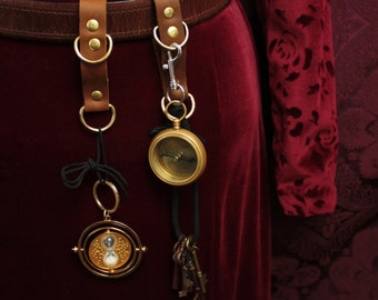 Steampunk Belt Accessory gadget hanger, belt loop, D rings on Strap. Mug in Chocolate Brown, black, or gray leather, brass or silver
