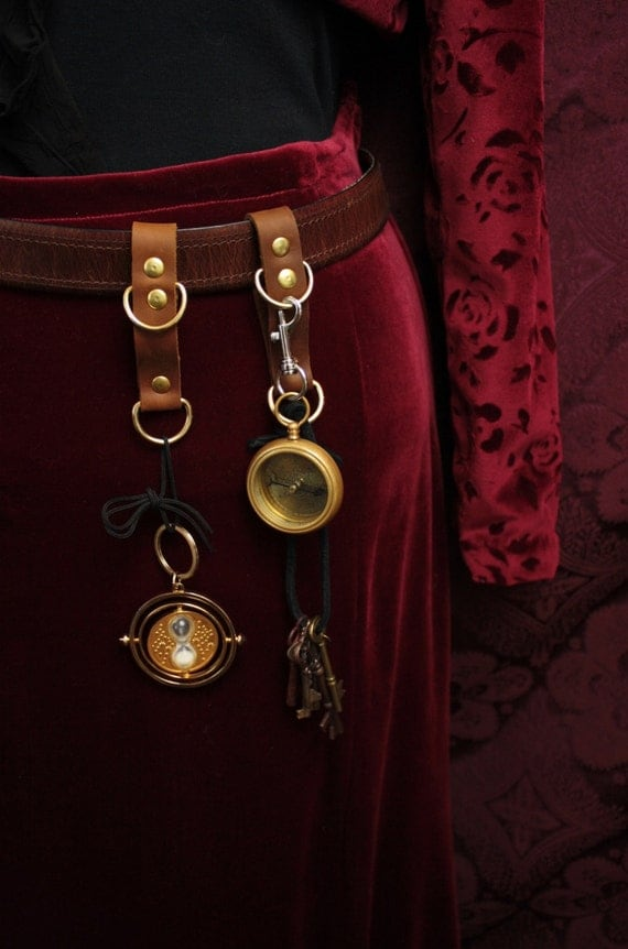 Steampunk Belt Accessory gadget hanger, belt loop, D rings on Strap Mug Frog, in Chocolate Brown leather, brass hardware / SCA LARP Renfaire