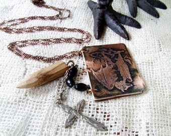 Handmade Metal Book Necklace Vampire Bat, Crucifix, Wooden Stake Halloween