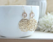 Peach Gold Paisley Filigree Chandelier Blush Champagne Peach Drops Earrings, Bridesmaid Gift, Blush Champagne and Gold. Peach Gold Wedding.
