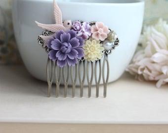 Purple Chrysanthemum, Pink, Flying Bird, Ivory, Pearl, Flower Collage Hair Comb. Purple Wedding. Bridesmaids Gift. Nature Wedding Hair Comb