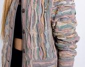 The Vintage Pastel Textured Stripe Sweater Cardigan