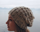 Slouchy Knit Beanie // Heathered Textured Off White Beanie